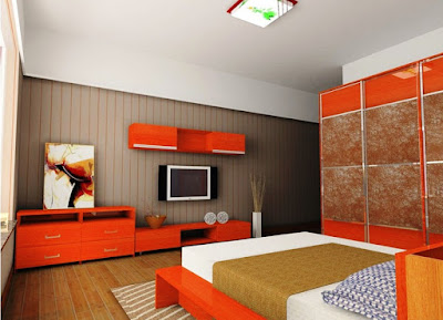 neo-bedrooms-design-with-wooden-floor-wall-decorations-orange-brown-white-fitted-bed-blanket-brown-carpeting-motive-picture-wallmount-tivi-lands-orange-cabinets-wall-cabinets-wall-lights-and-pictur
