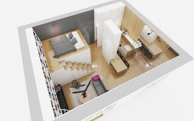 Open floor plans 3D floor very small house