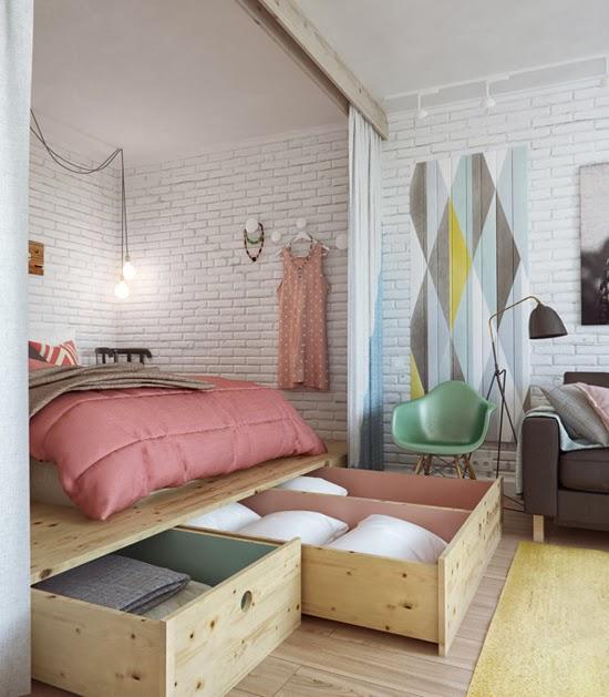 Pequeno apartamento 45m² moderninho, integrado e convidativo. Blog Achados de Decoração