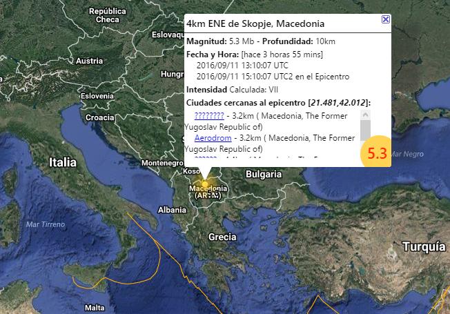 Terremoto in Macedonia: scossa magnitudo 5.3, circa un centinaio di feriti