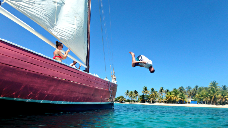 Jumping off the boat into the Caribbean Sea on Mayreau