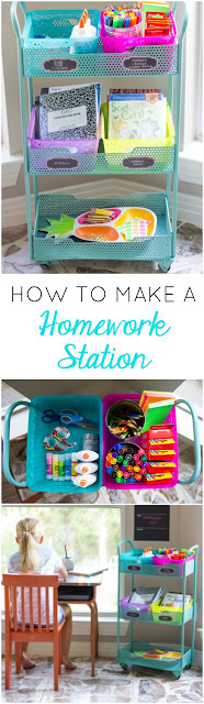 Turn a cart into a homework station - so handy!