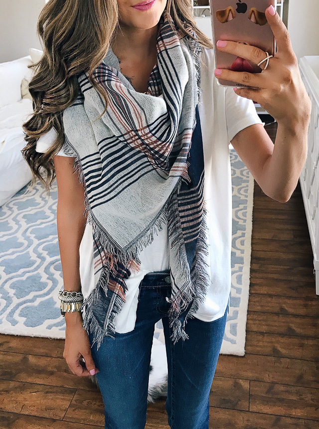 BP dual plaid triangle scarf