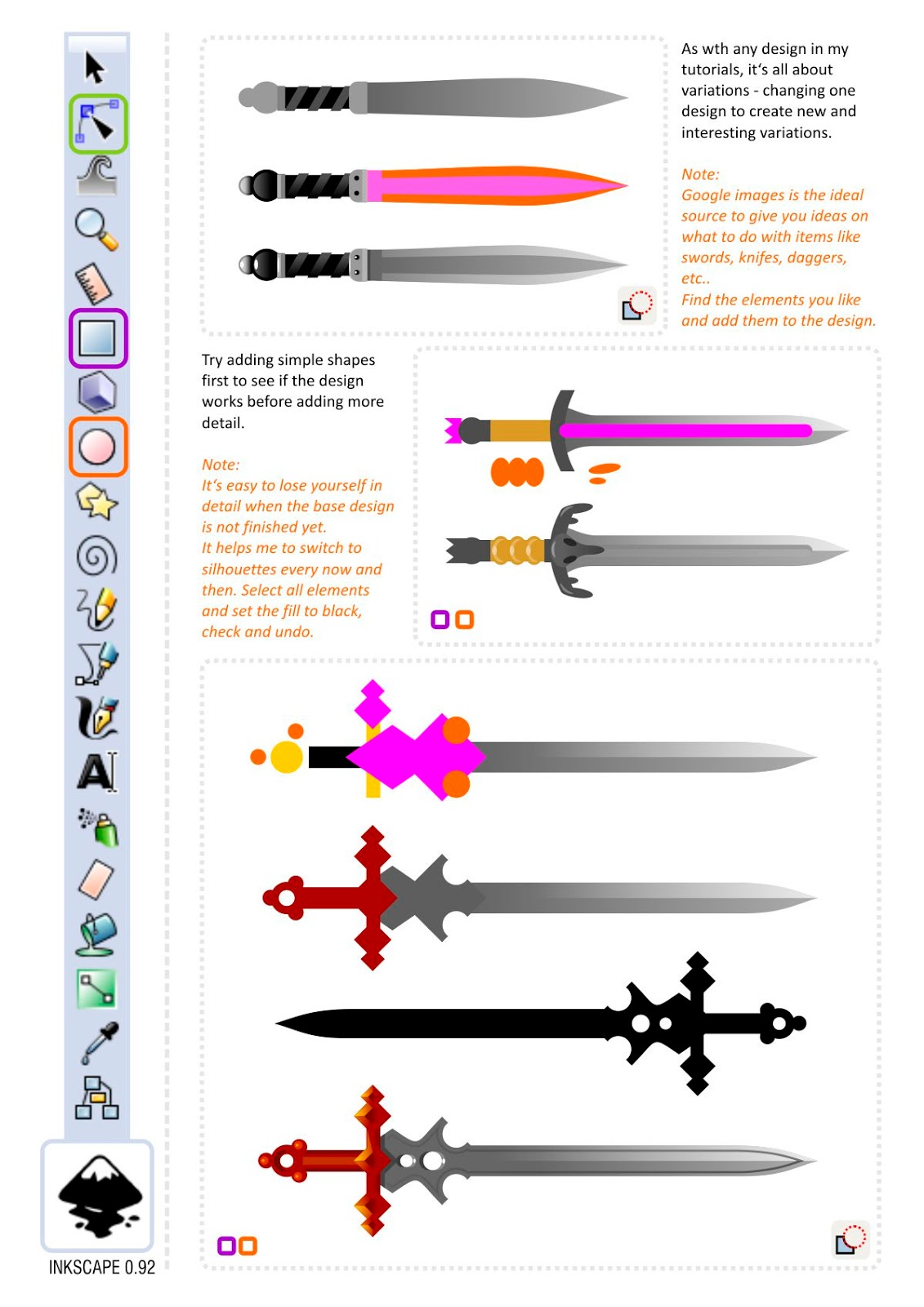 Slicing and Dicing - designing a basic game art prop sword in inkscape