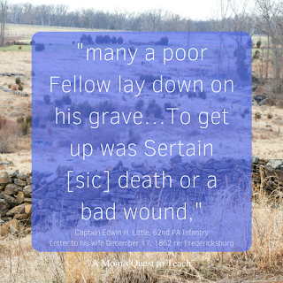 "Quote: ""many a fellow lay down in his grave...to get up was certain death or bad wound"""