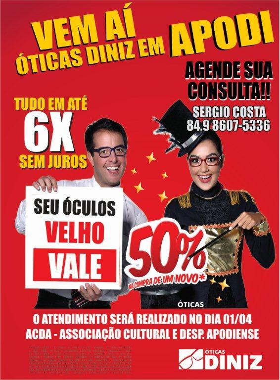 db3c30625c77d Vem aí Ótica Diniz em Apodi com os melhores preços e condições de pagamento