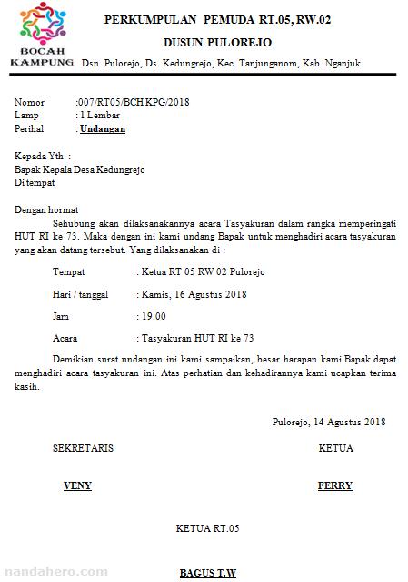 Contoh Surat Undangan Malam Tasyakuran 17 Agustus (HUT RI) Simple untuk kepala desa atau perangkat