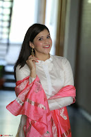 Mannara Chopra in Silky White Salwar Suit with Pink Chunni Latest Exclusive Pics March 2017 ~  053.JPG