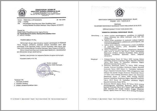 SK Dirjen Pendis Nomor 2941 Tahun 2018 tentang Kalender Pendidikan Madrasah Tahun Pelajaran 2018/2019