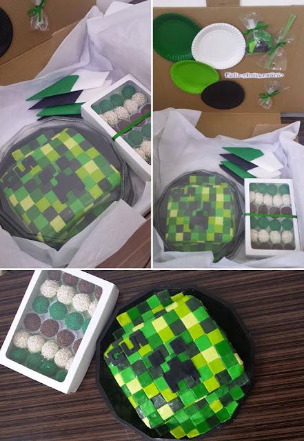 Bolo e Docinhos - Tema Minecraft