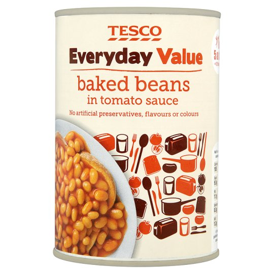 Tesco Everyday Value Baked Beans Tin, 420g for £0.24