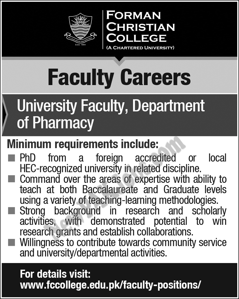 New Jobs in Forman Christian College, Department of Pharmacy
