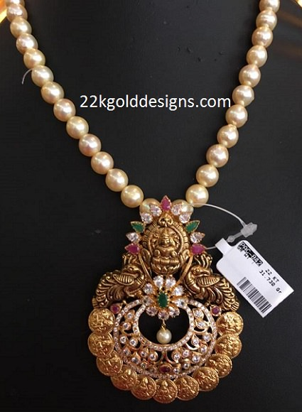 Lakshmi Kasu Pendant With Pearl Chain 22kgolddesigns