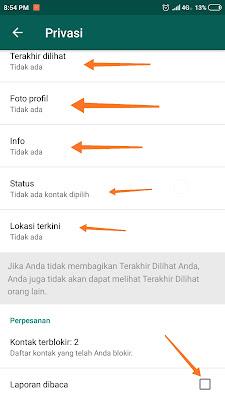 Cara agar akun Whatsapp Tidak Terlihat aktif Tanpa Aplikasi