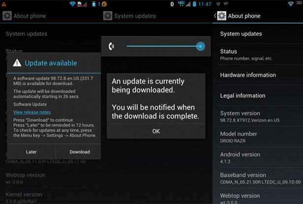 Ya esta disponible el primer firmware Retail Android 4.1.2 982.124.17.XT910.Brasil.en.BR para el Motorola Razr XT910, además del firmware retail de Francia y del Reino Unido, los cuales pueden ser instalados vía RSDLite. Los firmwares Europeos de Jelly Bean solo se pueden instalar si tienes un CID Europeo o si tu teléfono es de Europa, y el Retail Brasil en un Razr XT910 con un CID LATAM (América Latina). Importante: Los firmwares Full borraran todo el contenido de tu smartphone como tus datos personales, apps instaladas y perderás el root si lo tienes, por lo que debes hacer un respaldo, si