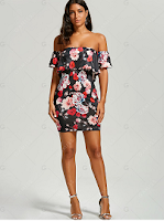 Bodycon Floral Off The Shoulder Dress