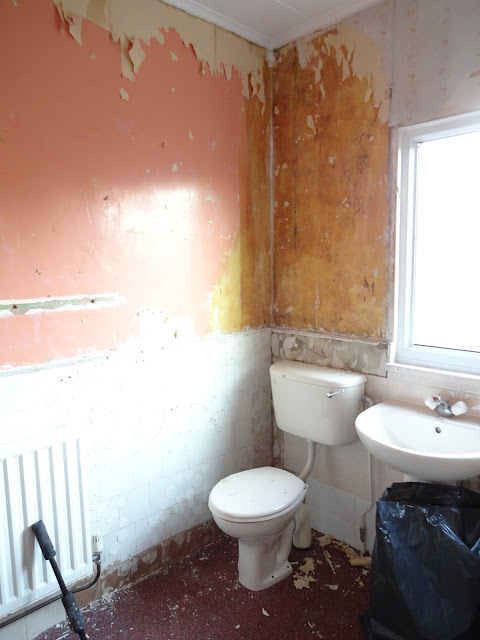 pink walls in shower room
