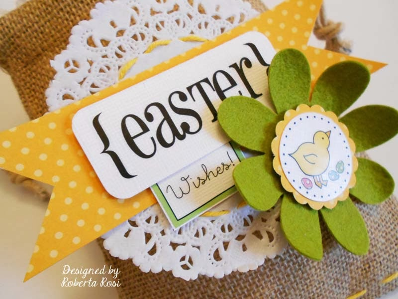 SRM Stickers Blog - Easter Bag and Tag by Roberta - #easter #tag #bag #burlap #stickers #doilies #twine
