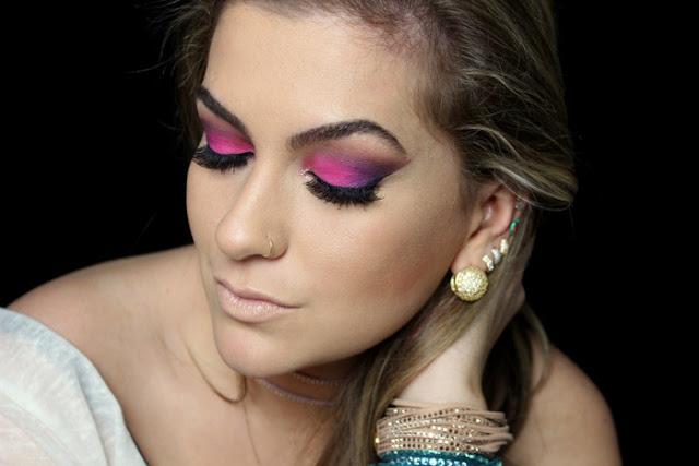 maquiagem com sombra rosa