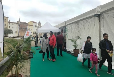 Bloggers in front of Festival of India marquee