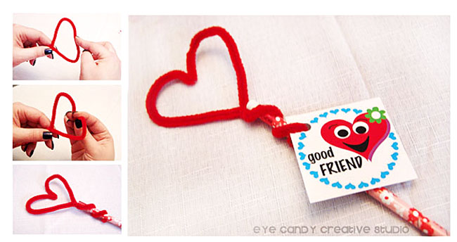 pencil topper valentine craft, pipe cleaner craft, silly hearts, kids craft