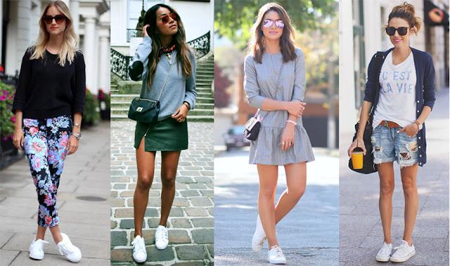 Os tênis brancos viraram tendencia desde 2015 e parece não não vão desaparecer tão rápido assim não, já que caiu nas graças das fashionistas e promete ficar firme e forte ao longo de 2016.