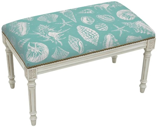 Coastal Aqua Upholstered Shell Theme Bench