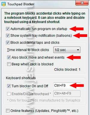 Настройка программы Touchpad Blocker для блокирования тачпада.