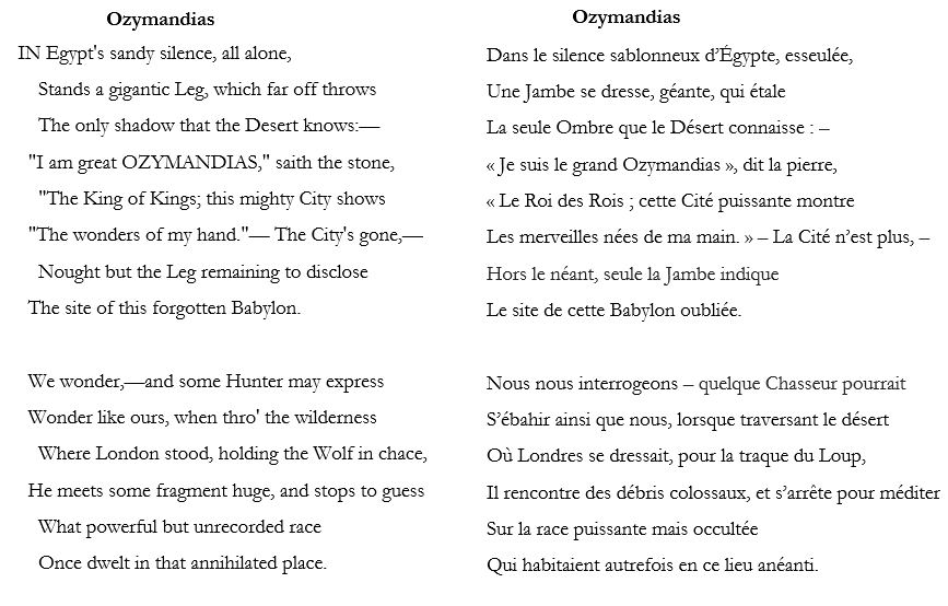 Horace Smith et Percy Shelley, Ozymandias