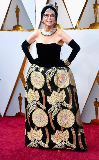Oscar Winner 1962 Rita Moreno wearing Same Oscar Dress in 2018