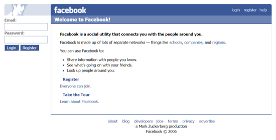 Facebook home page October 2006