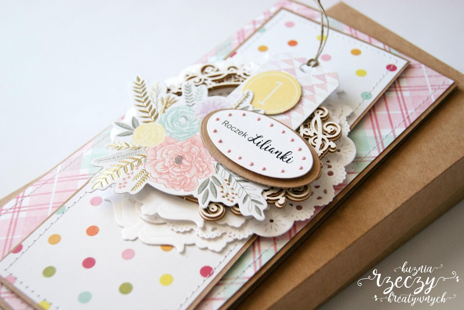 Ręcznie robiona kartka z okazji pierwszych urodzin.