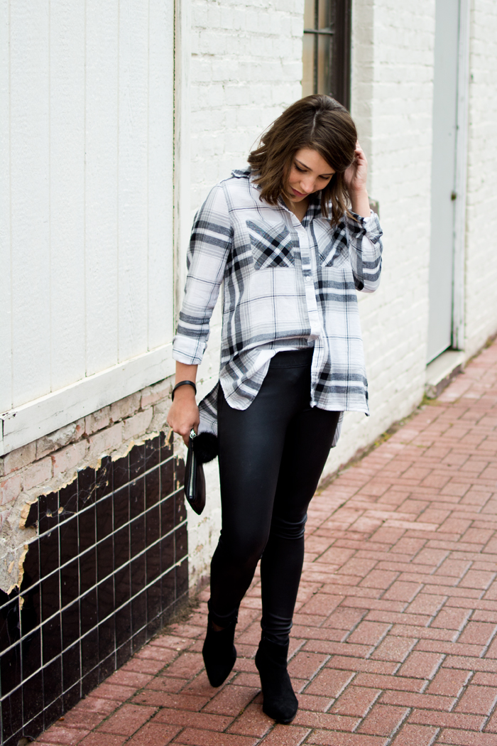 leather leggings, suede boots and plaid top outfit