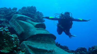 The Submerged Moai, Easter Island, Chile.