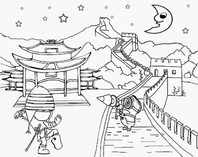Great Wall of China oriental landscape Chinese ninja costume cool clipart minion crafts kids tricks