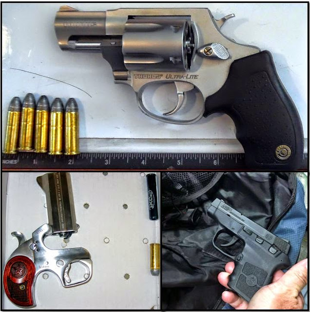 Clockwise from top, these firearms were discovered in carry-on bags at BUF, DFW, and IND.