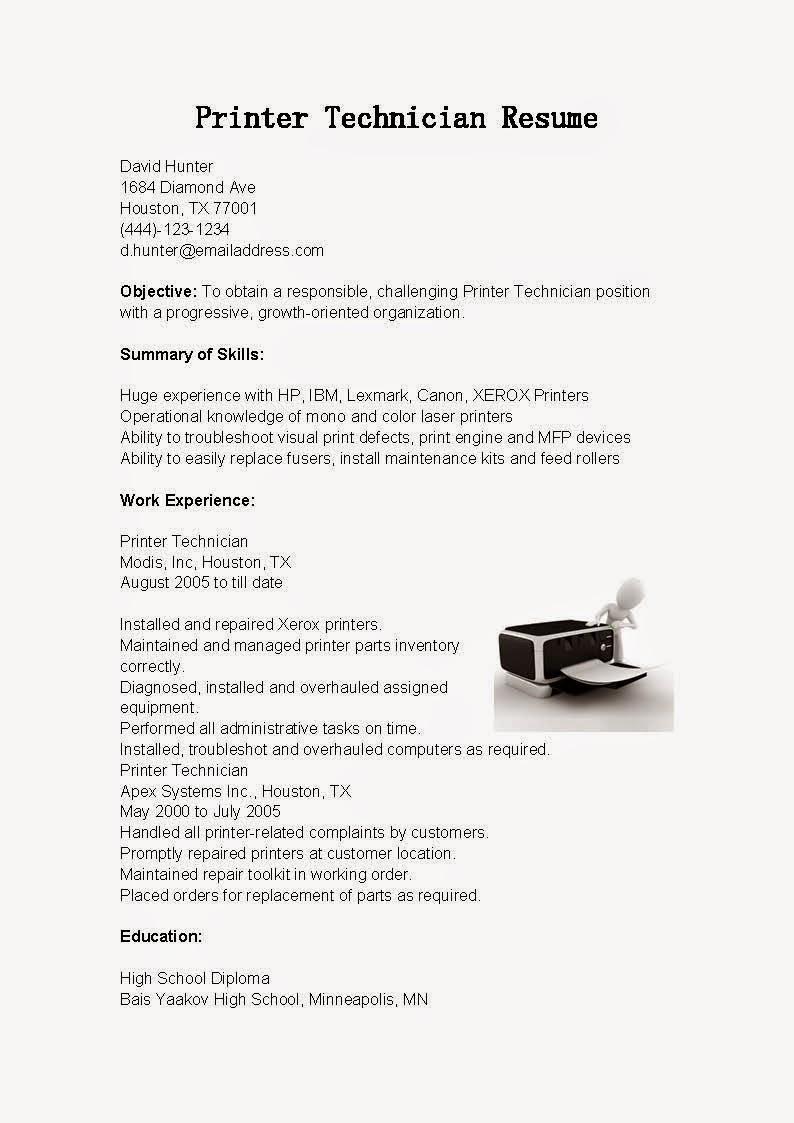 printing technician resume