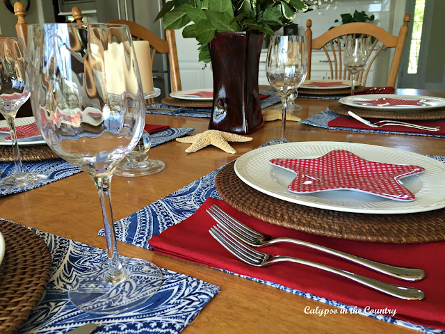 Patriotic Table Setting using red white and blue and a bit of coastal style