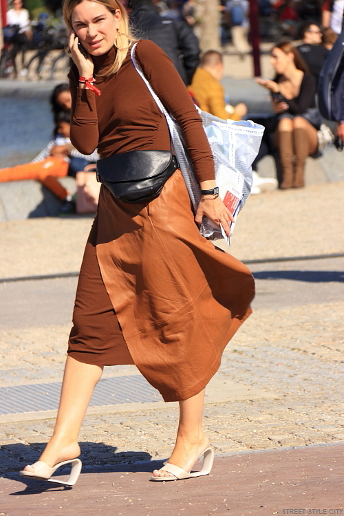 Special desigen shoes and leather skirt in the street of amsterdam during fashion week 2018. street style fashion look outfit ootd