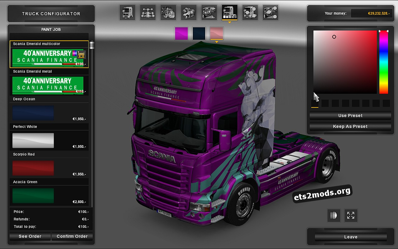 Emerald 40° Anniversary Scania Finance Pack