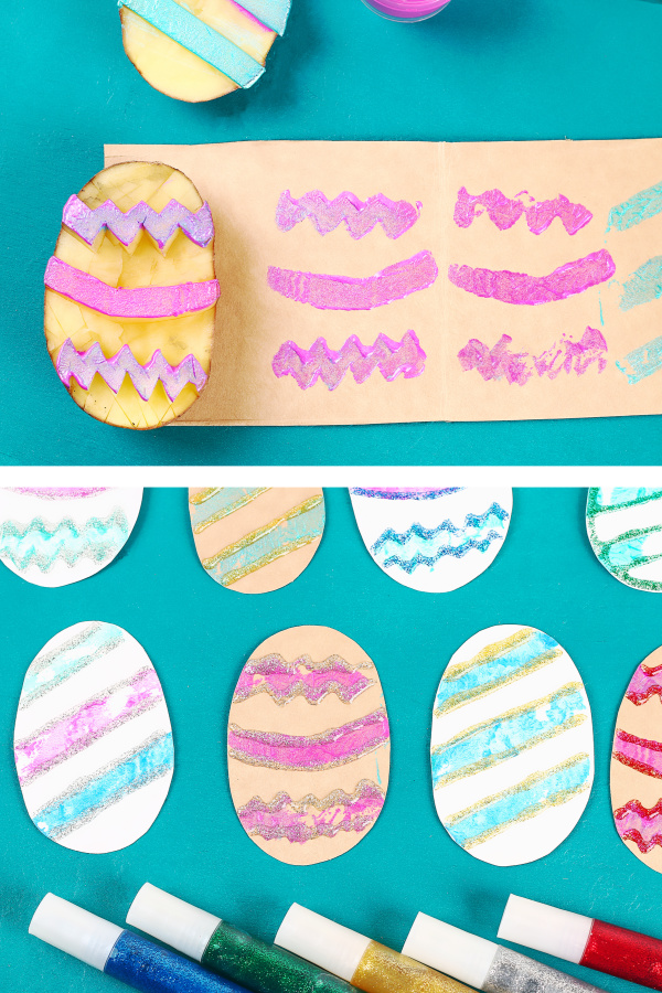 Turn a potato into an Easter egg!  This fun craft for kids transforms a potato into super cool art stampers- a must-try for all ages! #growingajeweledrose #potatostampeastereggs #potatostamping #eastereggcrafts #eastereggcraftsforkids #eastereggstamping #eastereggstamps #potatostamp #potatostampsforkids #potatostamping #eastercraftsforkidseasy