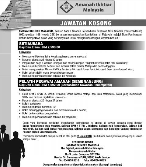 Jawatan Kosong di Amanah Ikhtiar Malaysia (AIM) Julai 2018