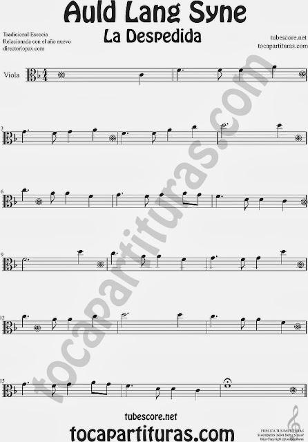 Partitura de La Despedida para Viola Popular Italia Auld Lang Syn Sheet Music for Viola Music Scores