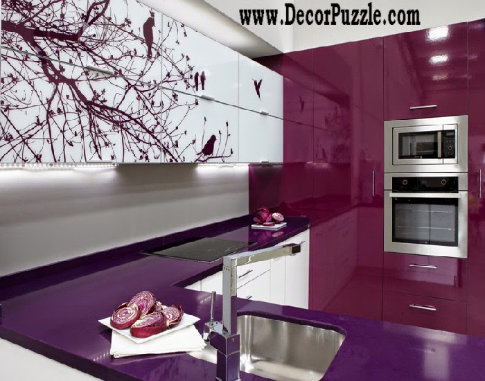 Modern purple kitchen in minimalist style 2018