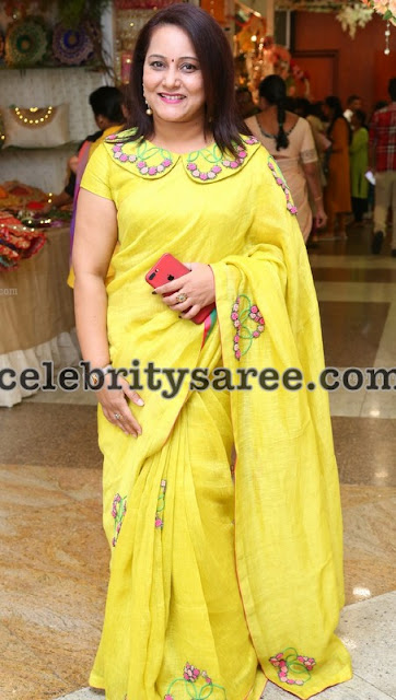 Lemon Yellow Embroidered Saree