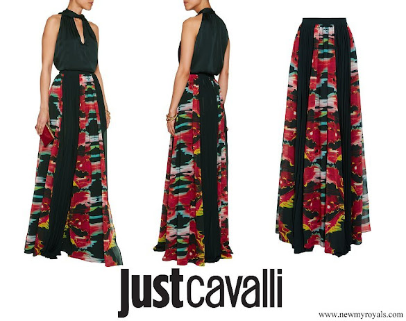 Crown Princess Mary wore Just Cavalli Pleated Printed Georgette Maxi Skirt