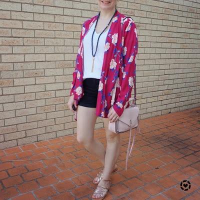 awayfromblue intagram | Cotton On Leah kimono in Juddy floral cerise, Rebecca Minkoss pastel pink small darren messenger bag