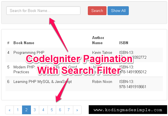 CodeIgniter Pagination with Search Query Filter: Example with Bootstrap