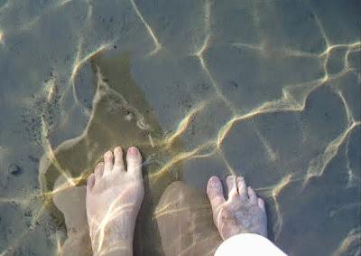 varpaat, heijaste, ranta, vesi