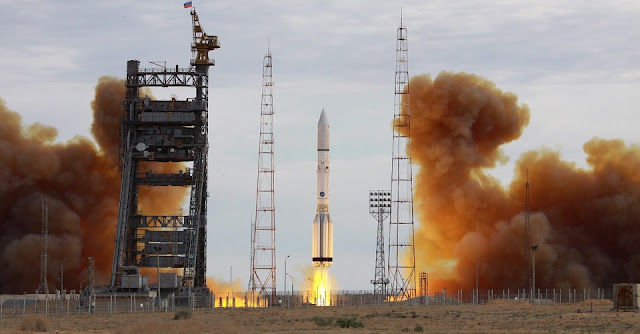 Launch of the Proton-M / EchoStar 21 mission rocket. Photo Credit: Roscosmos